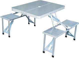 Aluminium Portable Folding Picnic Table Chairs Set Plastic Outdoor Camping Come…