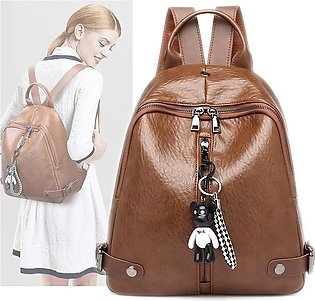 Pu Leather Pure Color Cartoon Cute Girl Pendant Bag Soft Face Female Women Back…