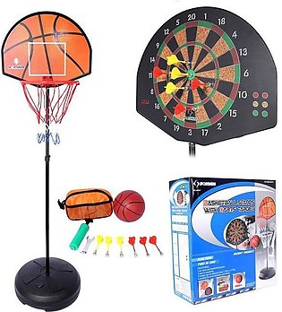 Basketball Board Net & Stand With Dart Targets