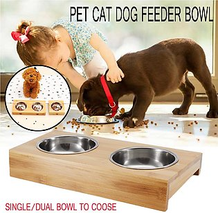 Non Slip Double Bowls Pet Dog Cat Puppy Food Water Feeder Wood Stainless Steel …