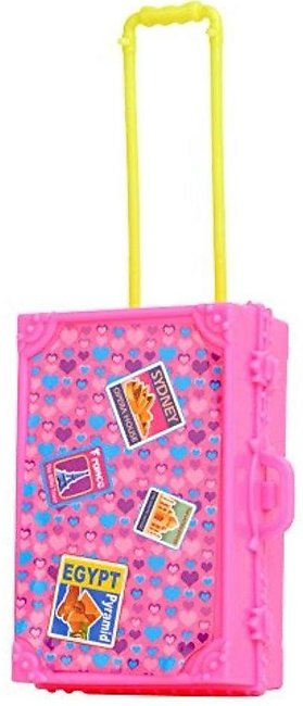 Pink Plastic   Travel Train Suitcase Luggage For Barbie Doll Decor Gift - intl
