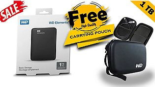WD Element 1 TB USB 3.0 External portable Hard Drive with free WD pouch