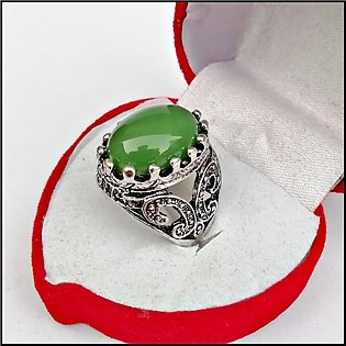 Cat acceries New Romanian King Crown Style Men Sterling Silver Ring with Emeral…