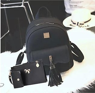 Black 3pcs/Set Women Leather Backpack Girls Shoulder Bookbag
