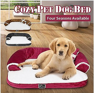 #Rose red  Plus-Size Cute Warm Double-Cushion Dog Bed Cotton Soft Sofa Pet House