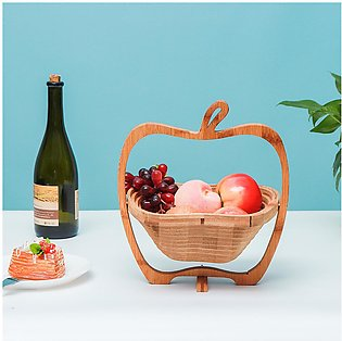 Pick for you Foldable Apple Shaped Bamboo Basket Kitchen Fruit Storage Basket F…