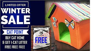 Cat Home - Multicolor - WITH FREE CAT LITTER (IMPORTED) - LIMITED TIME OFFER