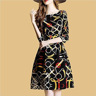Women Loose Middle Sleeve Flower Printed Waisted Casual Dress