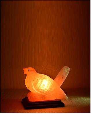 Crafted Sparrow Shaped Pink Salt Lamp