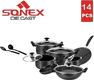 SONEX Royal Gift Pack Cookware Set - 14 Pieces - Non Stick Coating - Black