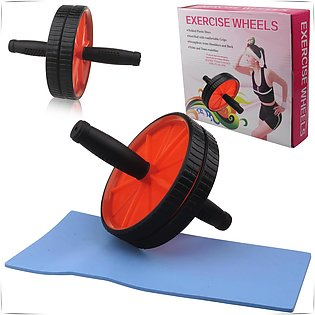 Dual Ab Wheel Roller Abdominal Exercise Abs with Free Knee Mat Pad Training Wor…