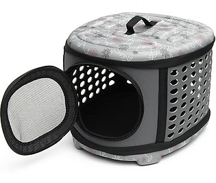 Small Pet Dog Cat Puppy Kitten Carrier Portable Cage Crate Transporter Grey