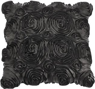 Effect Satin Roses Flower Sofa Bed Cushion Cover Pillowcase Square Pillow - Grey