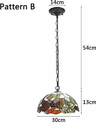 Smuxi Baroque Style Stained Glass Suspended Luminaire E27 Chain Pendant lights …