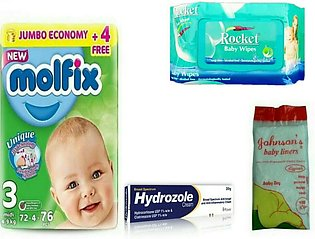 Baby monthly potty pack, baby diaper, nappy liner, baby wipes, anti rash enti f…