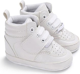 Classic Sports Sneakers Newborn Baby Infants Walkers Shoes High-top-white