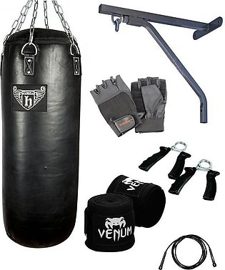 pack 7 punching bag wall stand weight lifting gym gloves bandage jumping  rope