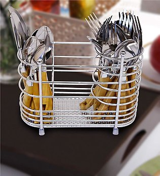 Chrome Plated Metal Cutlery Spoon Knife Fork Holder Draining Drying Rack Draine…