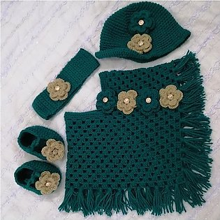 Baby Crochet Set   Ponchu Cap Shoes and Hairband