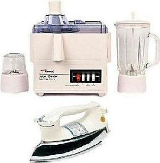 NATIONAL 3 in 1 - Juicer Blender with Free Heavy Weight Iron - White