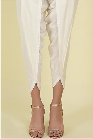 Warda Stitched - Off White Linen Solid Tulip Shalwar For Women LW20675