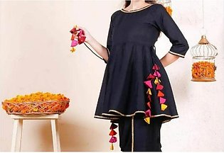 Amna.B  tusseled Top umbrella peplum short frock CASUAL stitched for girls