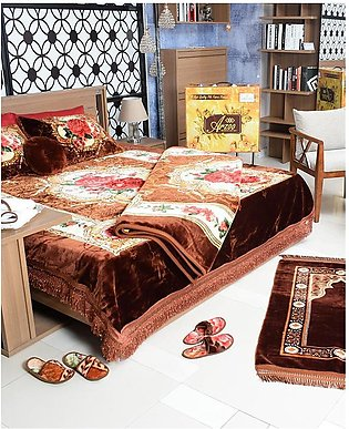 Plushmink Arzoo Elegant Double Bed Set Embossed, 12-Pieces Bed-in-a-Bag, Includ…
