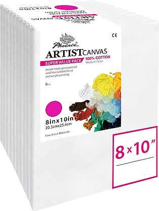 Stretched Canvas for Painting Imported - 8x10 Inch / 3 Pack -( For professional…