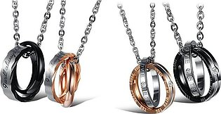 4 Pcs Jewelry Friendship Chain Steel Couples Pendant Rings with 45 cm and 50 cm…