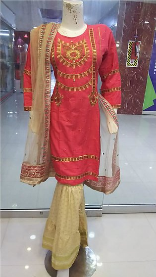 Multi color embroidered and stitched three piece suit for females stuff cotton …