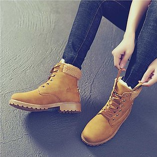 Women Solid Lace Up Casual Ankle Round Toe Winter Snow Boots
