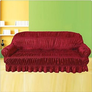 Sofa Cover 6 Seater Jersey Silk Fabric- Mahroon