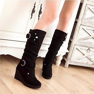 Women Winter Flat Round Toe Thicken Wedges Ladies Long Tube Boots