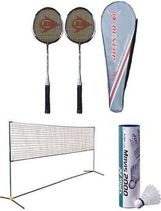 Pack of 9 - Badminton Set - Multicolour pair of racket 6 shuttle with net inclu…