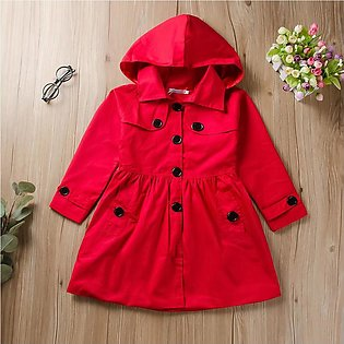 Toddler Kids Baby Girl Long Sleeve Solid Ruched Hooded Windproof Coat Outwear