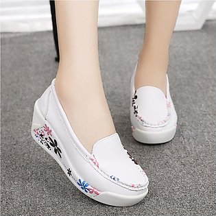 2019 New Women's Fashion Casual Flower Slip On Wedges Thick Bottom Platforms Wo…