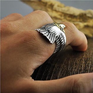 Trend Maker Unique Men And Women Eagle Ring Jewelry Silver Material Biker Eagle…