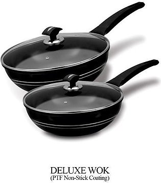 Sonex Deluxe Cooking Wok-Single Handle With Glass Lid-Ceramic Coating-26 CM