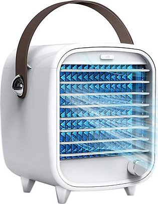 Portable Air Conditioner Small USB Desktop Air Cooler Fan Built in Ice Box Stro…