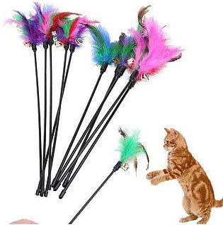 Cat Playing Stick Toy With Bell