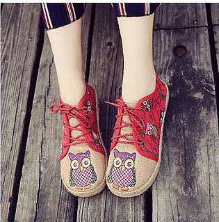 Fashion Pattern Owl Cute Colorful Cloth Lace Up Women Flat Loafers Shoes