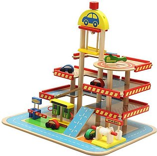 Assembling Simulation Large Stereo Three Layer Wooden Car Parking Lot Track Set…