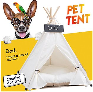 Bellylady Game House Foldable White Dog Cat Tent with Sleeping Mat for Indoor O…