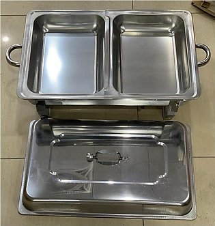DIVIDED DISH  SERVING POT /STAINLESS STEEL /LARGE SIZE /OR BUFFA DISH