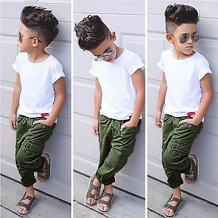 Children'S Summer Boy Short Sleeve White Top + Trousers Trend Two Set Children'…