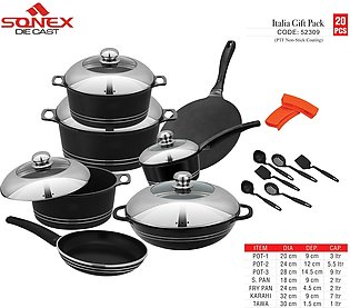 SONEX Itali Gift Pack Cookware Set with Steel Lid - 20 Pieces - PTF Non Stick C…