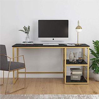 Computer Desk with 2-Tier Storage Shelves,Black and Gold