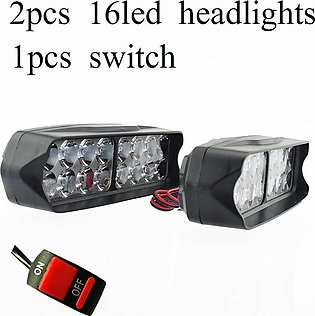 16W Motorcycle 16 LED Headlight Spot Fog Lamps pack of two + switch