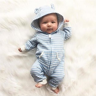 Newborn Infant Baby Boy Girl Hooded Striped Romper Jumpsuit with Pocket Outfits