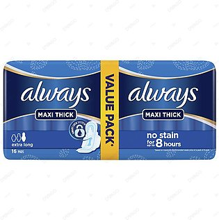 Always Thicks Maxi Night Sanitary Pads Extra Long Value Pack 16 Count